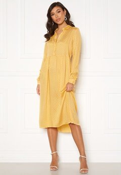 VERO MODA Fie Ls Calf Dress Wvn Cornsilk/ Birch Dot Bubbleroom.no