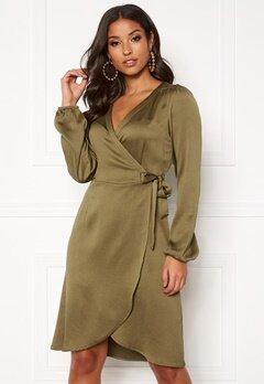 VERO MODA Gamma l/s Wrap Dress Military Olive Bubbleroom.no