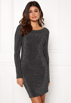 VERO MODA Githa LS Lurex Dress Black Silver Lurex Bubbleroom.no