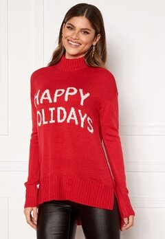 VERO MODA Holidays Long H/L Highneck Blouse Chinese Red, W. Snow Bubbleroom.no