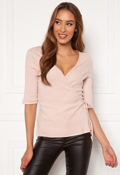 VERO MODA Hope 2/4 Rib Wrap Top Sepia Rose Bubbleroom.no