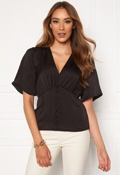 VERO MODA Livia 2/4 V-Neck Top Black Bubbleroom.no