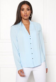 VERO MODA Manja LS V-Neck Shirt Cool Blue Bubbleroom.no
