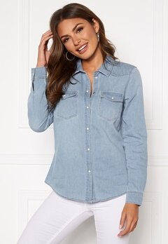 VERO MODA Maria LS Denim Slim Shirt Light Blue Denim Bubbleroom.no
