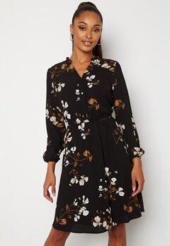 VERO MODA Maya V-Neck LS Dress Black AOP Hallie Bubbleroom.no