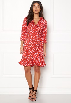VERO MODA Molly Poly 3/4 Wrap Dress Poppy Red Bubbleroom.no