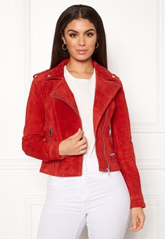 VERO MODA Royce Short Suede Jacket Fiery Red Bubbleroom.no