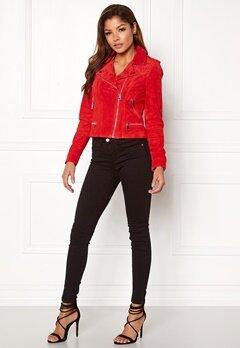 VERO MODA Royce Short Suede Jacket Flame Scarlet Bubbleroom.no