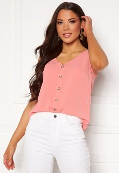 VERO MODA Sasha S/L Button Top Tea Rose Bubbleroom.no