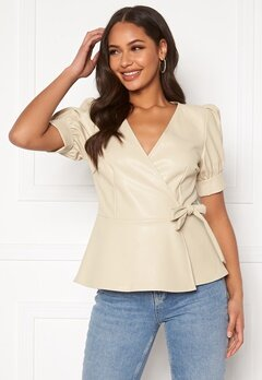 VERO MODA Serena Coated Wrap Top Bone White Bubbleroom.no