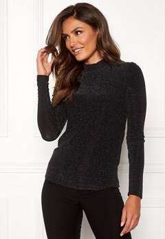 VERO MODA Shimmer LS Highneck Top Black Bubbleroom.no