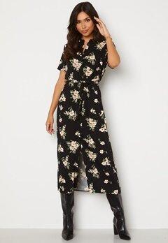 VERO MODA Simply Easy SS Long Shirt Dress Black AOP: Sandy Bubbleroom.no
