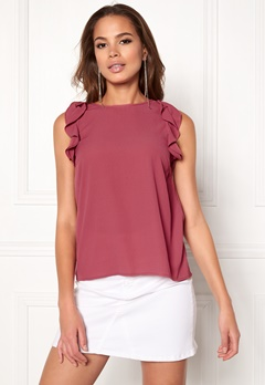 VERO MODA Skylar Frill S/L Top Dry Rose Bubbleroom.no