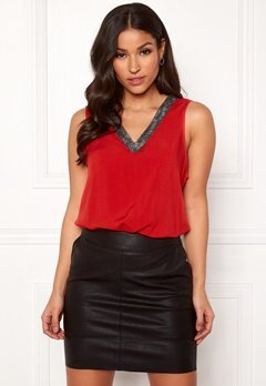 VERO MODA Tanni SL Top Chinese Red Bubbleroom.no
