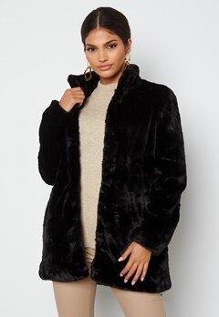 VERO MODA Thea 3/4 Faux Fur Jacket Black bubbleroom.no