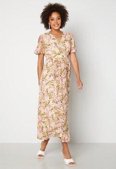 VERO MODA Wonda S/S Wrap Maxi Dress Birch AOP: Siga Bubbleroom.no