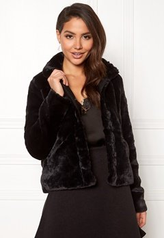 ONLY Vida Faux Fur Jacket Black Bubbleroom.no