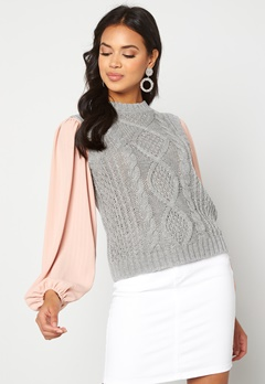VILA Atlan Knit Vest Light Grey Melange Bubbleroom.no