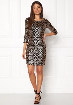 VILA Beady 3/4 Dress Black Detail Gold Bubbleroom.no