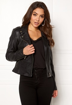 VILA Becky Leather Jacket/TB Black Bubbleroom.no