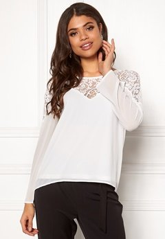 VILA Bekida Lace L/S Top Snow White Bubbleroom.no