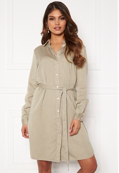 VILA Bista Denim Belt Dress Simply Taupe Bubbleroom.no