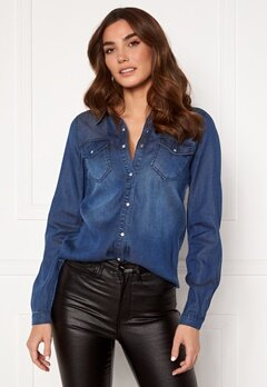 VILA Bista Denim Shirt Dark Blue Denim Bubbleroom.no