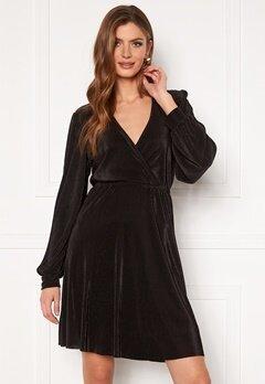 VILA Blamia Wrap Plisse Dress Black Bubbleroom.no