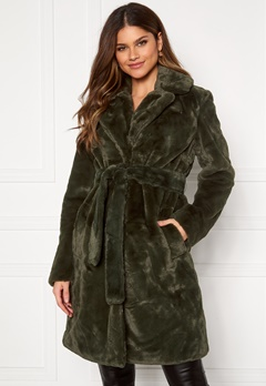VILA Boda New Faux Fur Coat Forest Night Bubbleroom.no