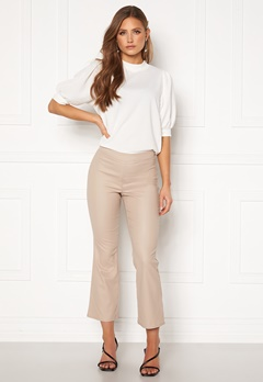 VILA Commit Coated HWSL Cropped Pants Simply Taupe Bubbleroom.no