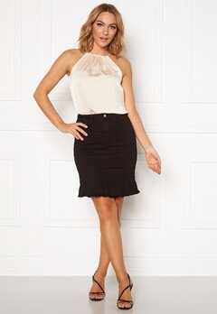 VILA Commit Peplum Denim Skirt Black Bubbleroom.no
