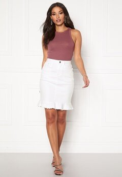 VILA Commit Peplum Denim Skirt White Alyssum Bubbleroom.no