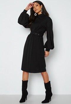 VILA Dana L/S Belt Dress Black bubbleroom.no