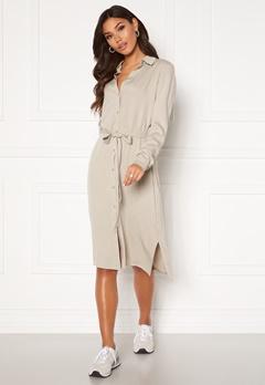 VILA Dania Belt L/S Shirt Dress Dove Bubbleroom.no
