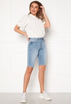 VILA Ekko RWSS Overknee Denim Shorts Light Blue Denim Bubbleroom.no