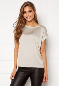 VILA Ellette S/S Satin Top Dove Bubbleroom.no