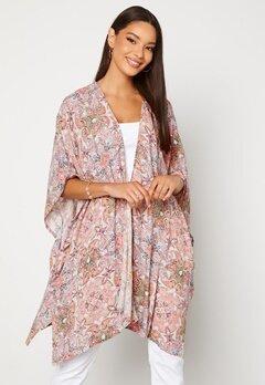 VILA Esa S/S Loose Sleeve Kimono Ecru AOP Bubbleroom.no