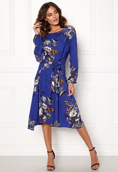 VILA Esto Sano L/S Midi Dress Clementis Blue Bubbleroom.no