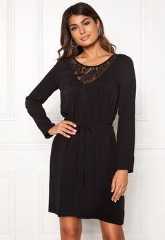 VILA Everly L/S Dress Black Bubbleroom.no
