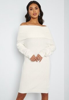 VILA Flinka L/S Knit Dress White Alyssum bubbleroom.no