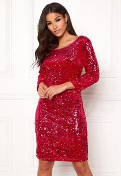 VILA Gliz 3/4 Sleeve Dress Barberry Bubbleroom.no