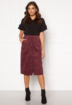 VILA Josy Button HW Skirt Tawny Port Bubbleroom.no