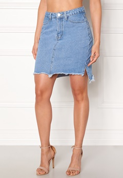 VILA Jules HW Slit Skirt Light Blue Denim Bubbleroom.no