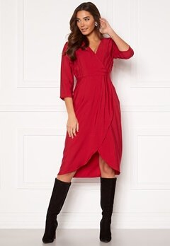 VILA Kri 3/4 Wrap Dress Jetser Red Bubbleroom.no