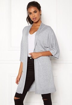VILA Lesly 3/4 Sleeve Knit Cardigan Light Grey Melange Bubbleroom.no
