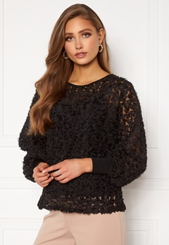 VILA Litta New L/S Top Black Bubbleroom.no