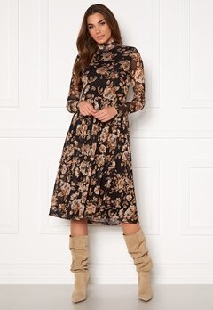 VILA Lomasi L/S Midi Dress Black AOP Flower Bubbleroom.no