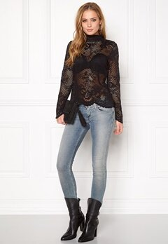VILA Lace l/s Lace Top Black Bubbleroom.no