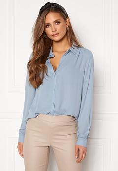 VILA Lucy Button L/S Shirt Ashley Blue Bubbleroom.no