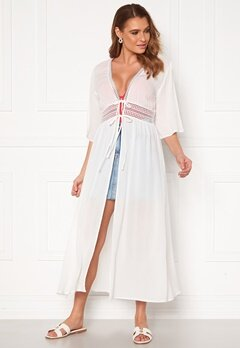VILA Lupine Long S/S Coverup Dress Cloud Dancer Bubbleroom.no